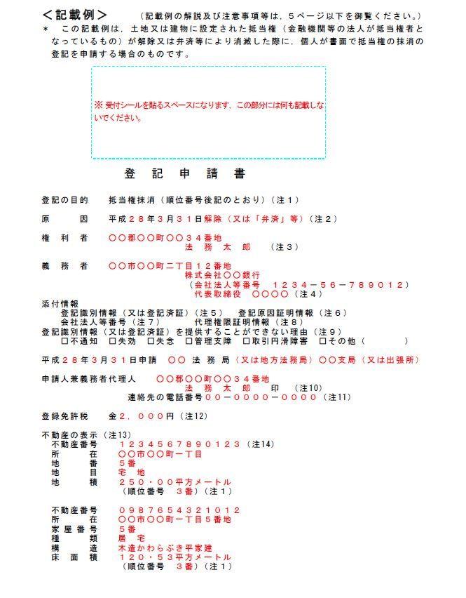 登記申請書の記載例(一部)